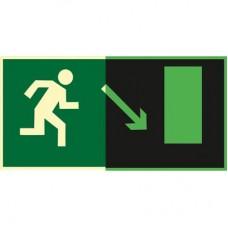 ФЭС E07 Направление к эвакуационному выходу  направо вниз (Пленка 150 x 300)