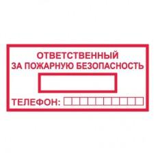 T09/B43 Ответственный за пожарную безопасность (Пластик 100 х 200)
