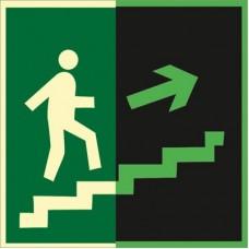 ФЭС E15 Направление к эвак. выходу по лестнице вверх (правосторонний) (пленка 250 Х 250)