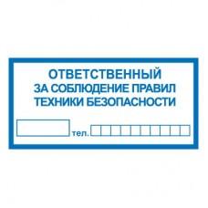 T10/B44 Ответственный за соблюдение правил техники безопасности (Пластик 100 х 200)