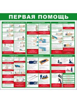 """Стенд """"Первая помощь (Пластик 1000 x 1000)"""""""