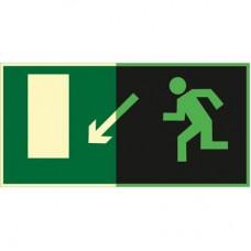 ФЭС E08 Направление к эвакуационному выходу  налево вниз (Пленка 150 x 300)