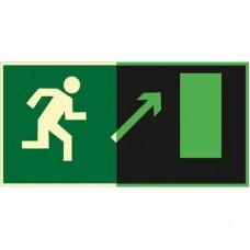 ФЭС E05 Направление к эвакуационному выходу  направо вверх (Пластик 150 x 300)